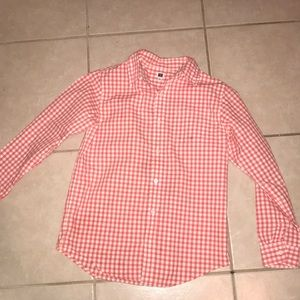 Janie and Jack Coral and white Button down shirt